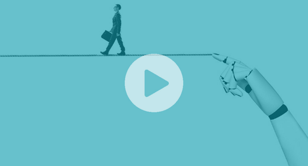 Webinar thumbnail person walking on tightrope held by a robot