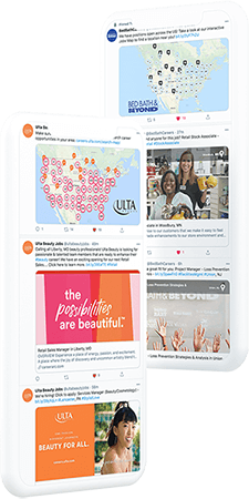 Examples of social recruiting posts from CareerArc retail clients