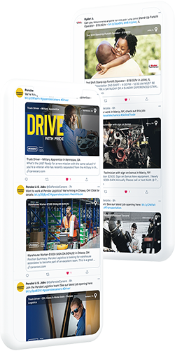Examples of social recruiting posts from CareerArc transportation and logistics clients