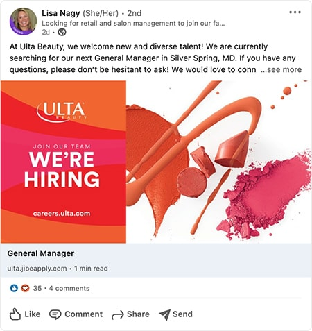 Ulta Beauty recruiter automated post to LinkedIn from the CareerArc social recruiting platform