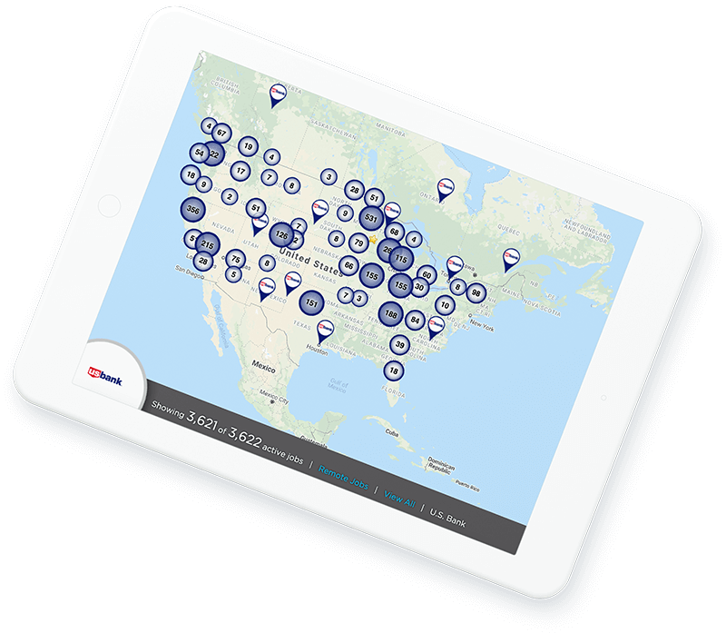U.S. Bank job map for financial services recruiting